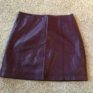 VEGAN maroon leather skirt